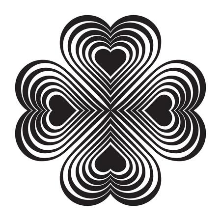 fourleaf: Black Celtic heart knot - stylized symbol. Made of hearts. Four-leaf clover. Isolated design element. White background. Vector illustration.