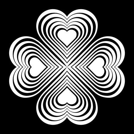 celtic symbol: White Celtic heart knot - stylized symbol. Made of hearts. Four-leaf clover. Isolated design element. Black background. Vector illustration.