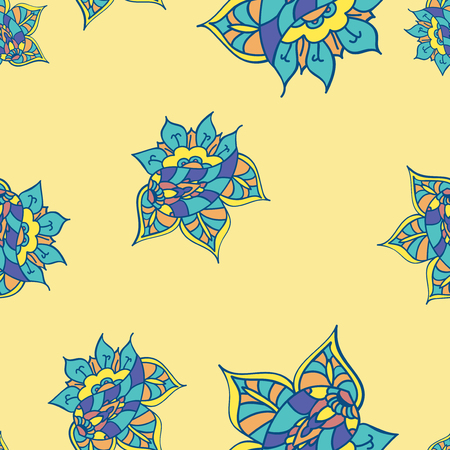 indian summer: Texture with hand drawn abstract doodle. Yellow background. Vector seamless pattern. Summer template. Ethnic backdrop. Colorful floral elements. Indian paisley flowers. For wallpaper, fabric, wrapping