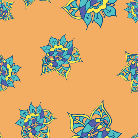 indian summer: Texture with hand drawn abstract doodle. Orange background. Vector seamless pattern. Summer template. Ethnic backdrop. Colorful floral elements. Indian paisley flowers. For wallpaper, fabric, wrapping