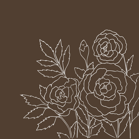 peon: Beautiful roses isolated on dark beige background. Hand drawn vector illustration with flowers. Brown retro floral card. Romantic delicate bouquet. Element for design. Contour lines and strokes.