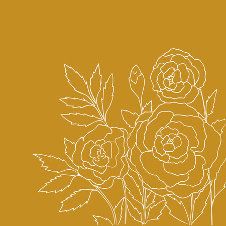 peon: Beautiful roses isolated on yellow background. Hand drawn vector illustration with flowers. Romantic retro floral card. Romantic delicate bouquet. Element for design. Contour lines and strokes. Illustration