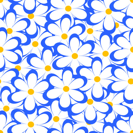 chamomiles: Seamless pattern. Vector illustration with flowers. Vintage floral print. Field of cute daisies. Textile design with blue chamomiles on white background. Spring or summer template. Surface texture.