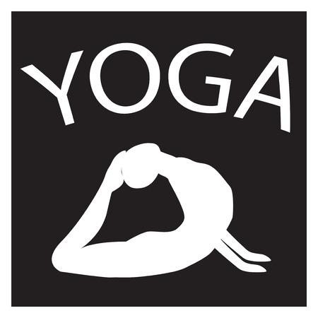 yogi: Girl in yoga position. White female silhouette on black background. Vector woman shape icon. illustration of Yoga pose. Logo design. Yogi in asana. Design element for poster, studio, fitness center. Illustration