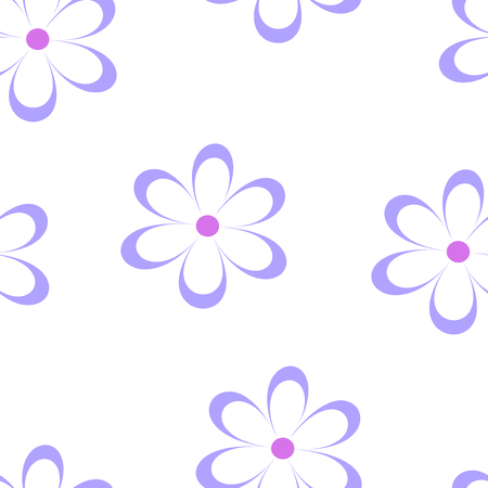 field of daisies: Seamless pattern. Vector illustration with flowers. Vintage floral print. Field of cute daisies. Textile design with blue chamomiles on white background. Spring or summer template. Surface texture.