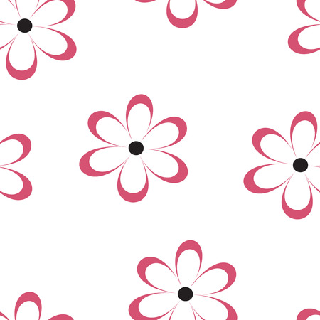 chamomiles: Seamless pattern. Vector illustration with flowers. Vintage floral print. Field of cute daisies. Textile design with red chamomiles on white background. Spring or summer template. Surface texture.