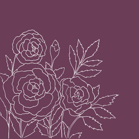 peon: Beautiful roses isolated on purple background. Hand drawn vector illustration with flowers. Pink retro floral card. Romantic delicate bouquet. Element for design. Contour lines and strokes.