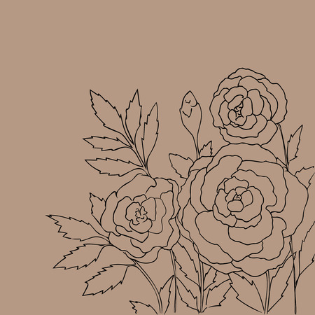 peon: Beautiful roses isolated on light beige background. Hand drawn vector illustration with flowers. Brown retro floral card. Romantic delicate bouquet. Element for design. Contour lines and strokes.