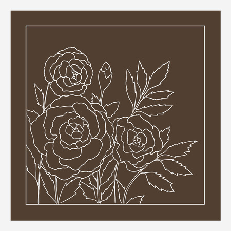 dark beige: Beautiful roses isolated on dark beige background. Hand drawn vector illustration with flowers. Brown retro floral card. Romantic delicate bouquet. Element for design. Contour lines and strokes.
