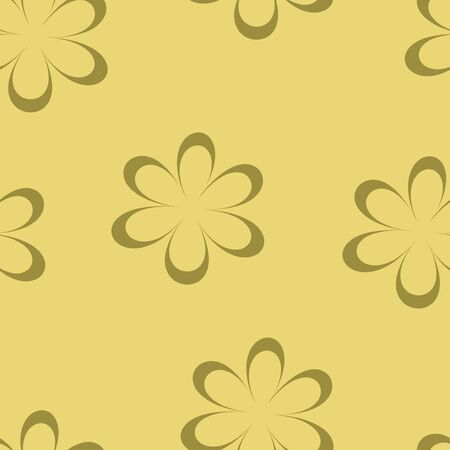 chamomiles: Seamless pattern. Vector illustration with flowers. Vintage floral print. Field of cute daisies. Textile design with chamomiles on yellow background. Spring or summer bright template. Surface texture.