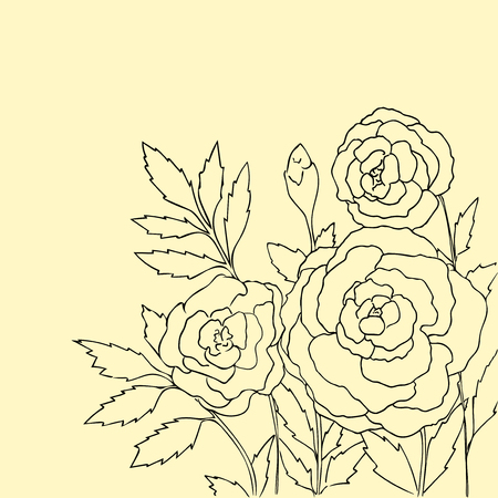peon: Beautiful roses isolated on soft yellow background. Hand drawn vector illustration with flowers. Retro floral card. Romantic delicate bouquet. Element for design. Contour lines and strokes.