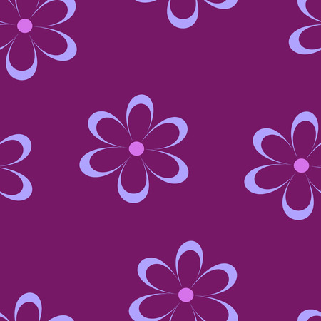 field of daisies: Seamless pattern. Vector illustration with flowers. Vintage floral print. Field of cute daisies. Textile design with chamomiles on purple background. Spring or summer bright template. Surface texture