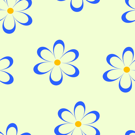 chamomiles: Seamless pattern. Vector illustration with flowers. Vintage floral print. Field of cute daisies. Textile design with blue chamomiles on yellow background. Spring or summer template. Surface texture. Illustration