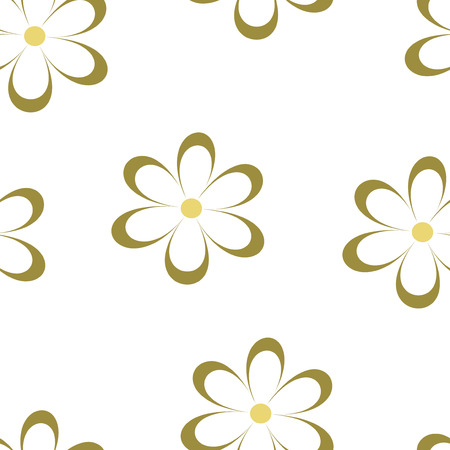 field of daisies: Seamless pattern. Vector illustration with flowers. Vintage floral print. Field of cute daisies. Textile design with chamomiles isolated on white background. Spring or summer template. Surface texture