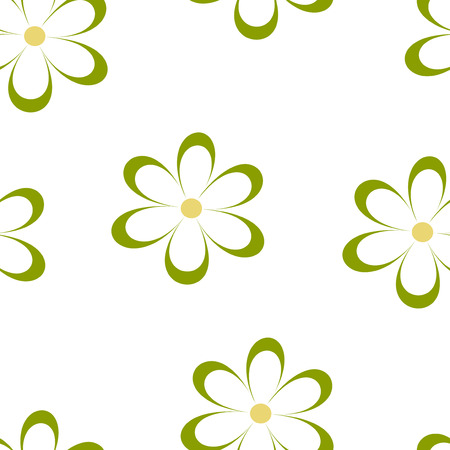 field of daisies: Seamless pattern. Vector illustration with flowers. Vintage floral print. Field of cute daisies. Textile design with green chamomiles on white background. Spring or summer template. Surface texture.