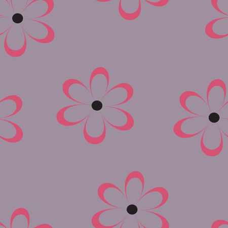 field of daisies: Seamless pattern. Vector illustration with flowers. Vintage floral print. Field of cute daisies. Textile design with chamomiles on gray background. Spring or summer romantic template.Surface texture