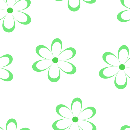 chamomiles: Seamless pattern. Vector illustration with flowers. Vintage floral print. Field of cute daisies. Textile design with green chamomiles on white background. Spring or summer template. Surface texture.