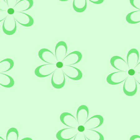field of daisies: Seamless pattern. Vector illustration with flowers. Vintage floral print. Field of cute daisies. Textile design with chamomiles on green background. Spring or summer romantic template.Surface texture Illustration
