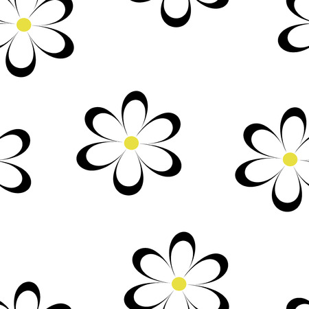 field of daisies: Seamless pattern. Vector illustration with flowers. Vintage floral print. Field of cute daisies. Textile design with black chamomiles on white background. Spring or summer template. Surface texture. Illustration
