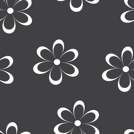 field of daisies: Seamless pattern. Vector illustration with flowers. Vintage floral print. Field of cute daisies. Textile design with white chamomiles on black background. Spring or summer template. Surface texture.