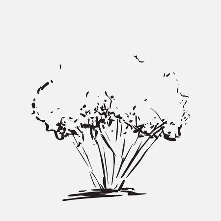 Árbol estilizado. Dibujado a mano. Silueta negra del bosquejo del árbol aislada en fondo gris claro. Ilustración vectorial Fondo grabado vintage