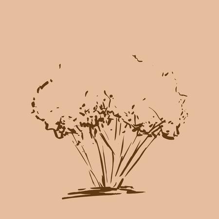 Stilisierter Baum. Handgemalt. Brown Baum Skizze Silhouette auf beige Hintergrund. Vektor-Illustration. Jahrgang gravierte Hintergrund.
