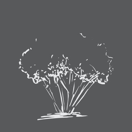 Stilisierter Baum. Handgemalt. Weißer Baum Skizze Silhouette auf schwarzem Hintergrund isoliert. Vektor-Illustration. Jahrgang gravierte Hintergrund. Tafel-Imitation.