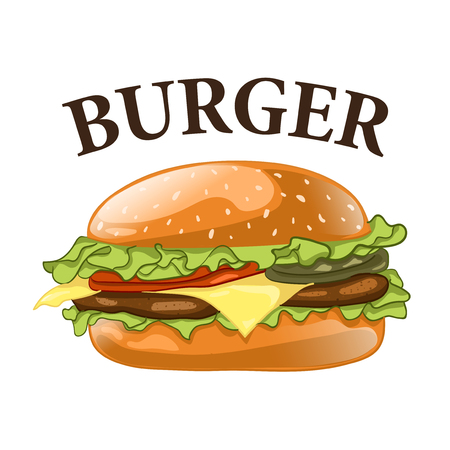Burger isolated on white background. Cheeseburger vector illustration. Hamburger icon. Fast food concept.