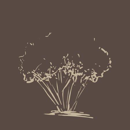dark brown background: Stylized tree. Hand drawn. Beige tree sketch silhouette isolated on dark brown background. Vector illustration. Vintage engraved background.