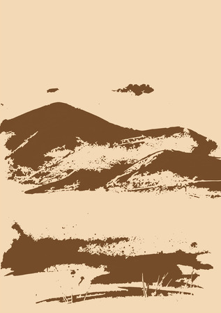 ridge: Brown mountain range with texture on beige. Landscape sketch. Hiking, travel and camping concept. For tourism organisations, outdoor events and mountains leisure. Engraving style. Vector illustration Illustration
