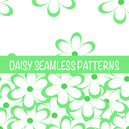 Set of seamless naive minimalistic patterns with little flowers. Floral print. Field of grass green camomiles on white background. For wrapping, fabric and other design. Vector illustration.