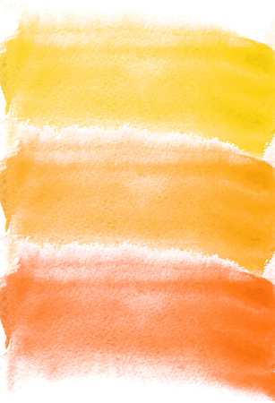 Card with watercolor blots. Yellow and orange colors. Painting for your design. Abstract bright textured backdrop. Vector illustration. Hand painted texture for banner, logo, invitation, postcard.