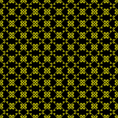 Ornamental seamless pattern. Black and yellow colors.  Endless template for wallpaper, textile, wrapping, print, interior, floor, fabric. Abstract texture. Traditional ethnic ornament for  design.