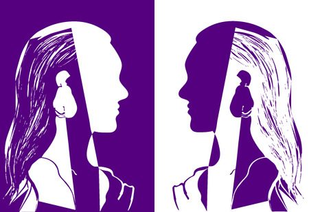 Two girls with long hair looking at each other. Purple and white vector illustration. Silhouette of woman head. Profile of a beautiful young girl. Fashion concept. Geometrical abstract drawing.
