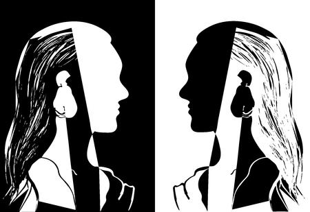 Due ragazze con i capelli lunghi che si guardano. Illustrazione vettoriale in bianco e nero. Siluetta della testa di donna. Profilo di una bella ragazza. Concetto di moda. Disegno astratto geometrico. Vettoriali