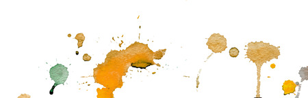 Orange watercolor splashes and blots on white background. Ink painting. Hand drawn illustration. Abstract watercolor artwork.
