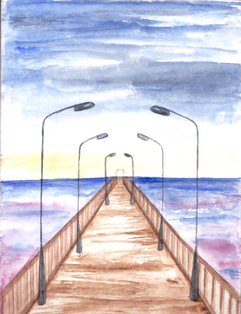Bridge with lanterns. Watercolor painting. Sea landscape. Hand drawn Illustration of sunset. Abstract postcard or poster.