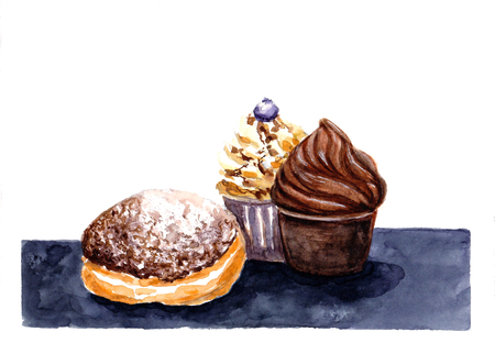 Tasty Chocolate and caramel cupcakes and doughnut on black table. Hand drawn watercolor illustration. Stockfoto