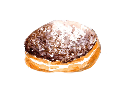 Jelly filled Chocolate doughnut with powdered sugar. Watercolor food illustration, isolated objects on white background. Hand painted Chocolate dessert. Sweet and tasty pastry.