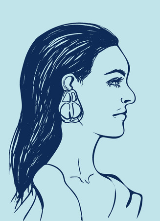 Beautiful woman with long black hair. Female face in profile. Fashion icon for Beauty salon. Profile of sensual young girl on light blue background. Line drawing. Isolated vector illustration. EPS.
