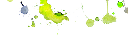 Bright yellow green watercolor splashes and blots on white background. Ink painting. Hand drawn illustration. Abstract watercolor artwork. Stockfoto