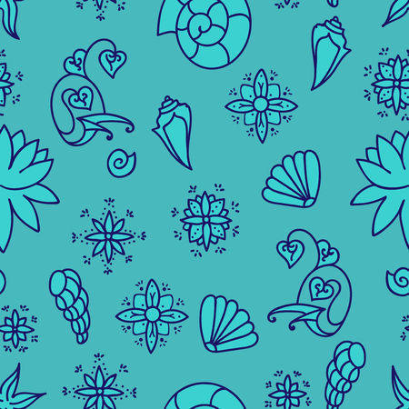 Sea life background. Seamless underwater pattern. Hand drawn vector illustration. Seashells and doodle elements. Blue colors.