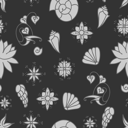 Sea life background. Seamless underwater pattern. Hand drawn vector illustration. Seashells and doodle elements. Gray colors.