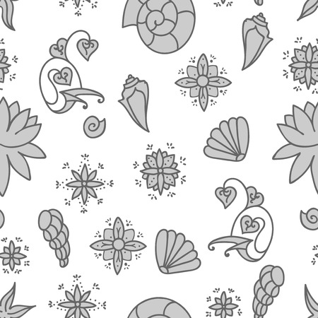 Sea life. Seamless underwater pattern. Hand drawn vector illustration. Seashells and doodle elements. Gray drawing isolated on white background.