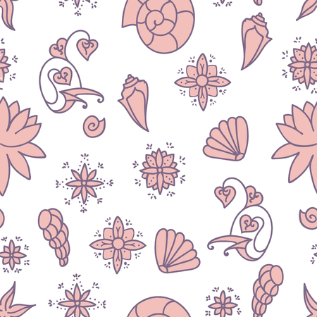 Sea life. Seamless underwater pattern. Hand drawn vector illustration. Seashells and doodle elements. Plae pink drawing isolated on white background.