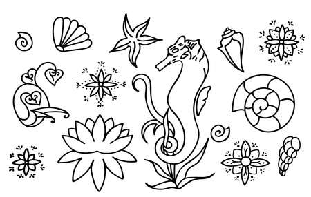 Sea horse, shells and doodle elements. Graphic sea life collection. Vector ocean creatures isolated on dark white background. Set of simple line drawings. Hand drawn illustration. Coloring book page design for adults and kids.