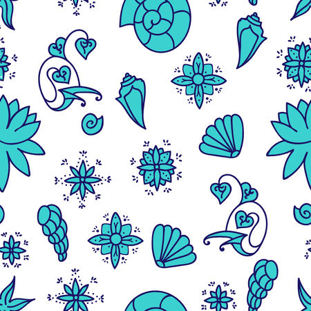 Sea life. Seamless underwater pattern. Hand drawn vector illustration. Seashells and doodle elements. Blue drawing isolated on white background.