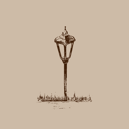 Small Garden Light. Solar Powered Lamp drawing. Sketch of Lantern. Hand drawn vector illustration of a street lamp. Brown drawing on beige background.