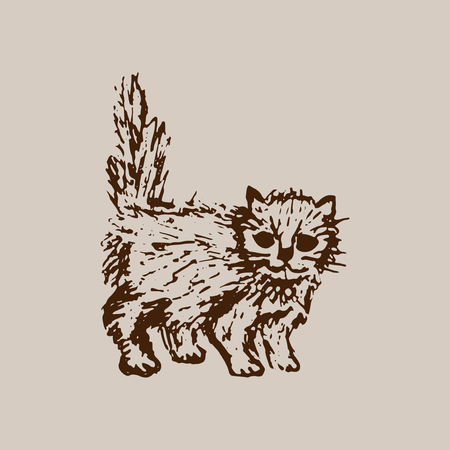 Hand drawn sketch of cat kitten. Brown line drawing isolated on beige background. Cute little pet. Vector animal illustration.