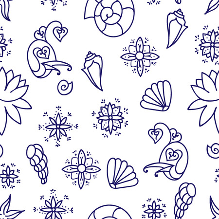 Sea life. Seamless underwater pattern. Hand drawn vector illustration. Seashells and doodle elements. Blue line drawing isolated on white background.